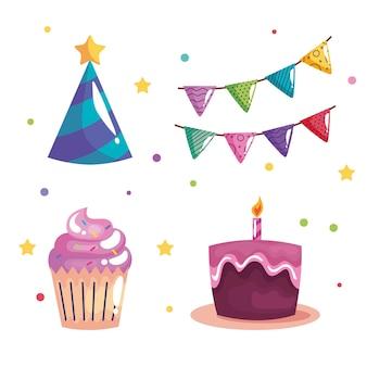 Pacchetto di quattro icone di celebrazione di compleanno di festa impostate