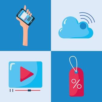 Pacchetto di quattro elementi di set di social media illustrazione