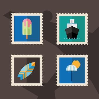 Pacchetto di quattro icone di francobolli di vacanze