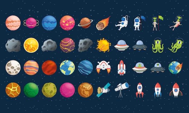 Pacchetto di quaranta set di icone dello spazio
