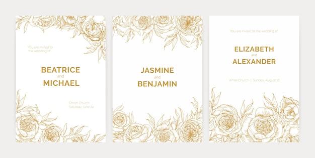 Pacchetto di splendidi modelli di invito a una festa di matrimonio floreale con rose di provenza disegnate a mano con linee di contorno e posto per il testo