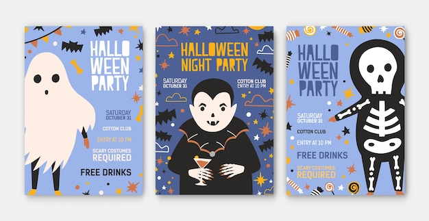 Pacchetto di modelli di invito a una festa di halloween, volantini o poster con un simpatico vampiro