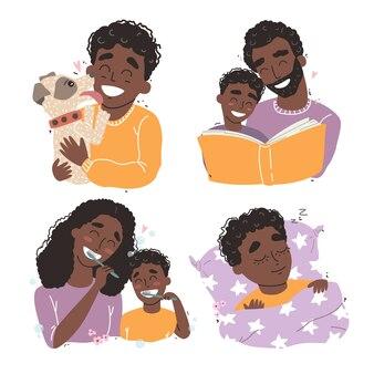 Pacchetto di scene familiari felici e amorevoli. madre e padre che educano e insegnano ai loro figli. illustrazione piatta. concetto di infanzia felice.