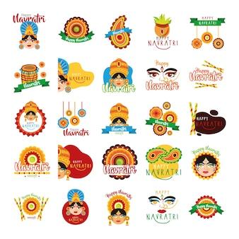 Pacchetto di felice celebrazione navratri imposta icone illustrazione design