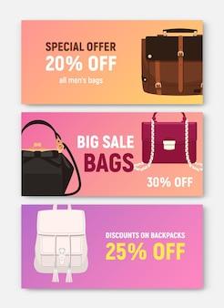 Pacchetto di modelli orizzontali di banner, coupon o voucher con eleganti borse e borsette alla moda di diversi tipi e posto per il testo. illustrazione vettoriale colorata per la promozione della vendita di negozi o negozi.