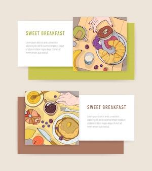 Pacchetto di modelli di banner orizzontali con gustosi pasti per la colazione o delizioso cibo mattutino che giace su piatti e posto per il testo. illustrazione colorata per pubblicità bar o ristorante.