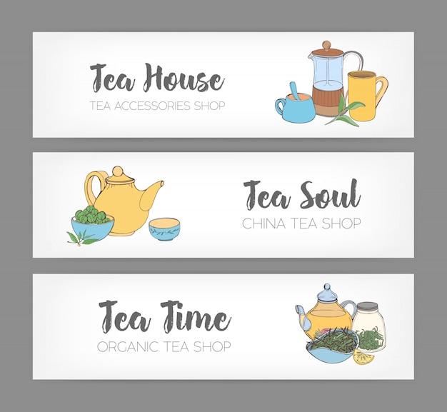 Bundle di banner orizzontali con stampa francese disegnata a mano, tazze, tazze, teiera e diversi tipi di tè biologico