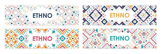 Pacchetto di banner web orizzontale decorato con ornamenti tradizionali indiani d'america