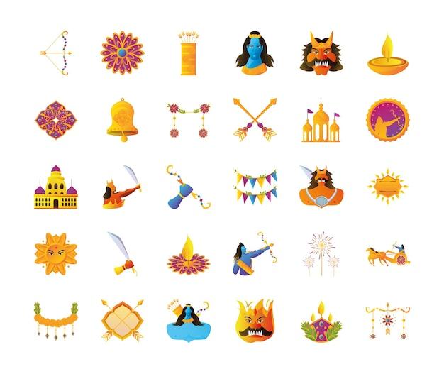 Fascio di icone del festival di dussehra nel disegno del fondo bianco