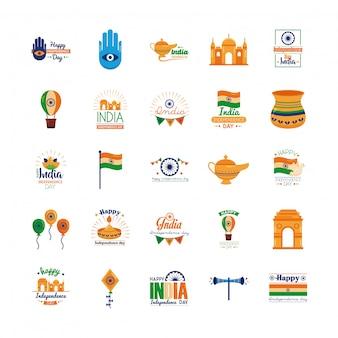 Pacco delle icone di celebrazione di festa dell'indipendenza dell'india