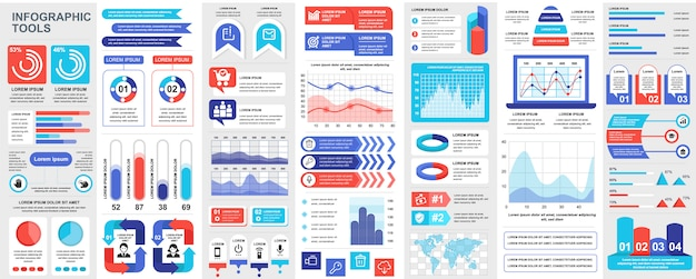 Bundle infografica ui, ux, elementi kit con grafici, diagrammi, flusso di lavoro, diagramma di flusso, sequenza temporale, statistiche online, modello di elementi di icone di marketing. set di infografica.