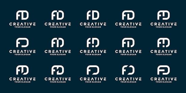 Bundle iniziali lettere fd logo design vector