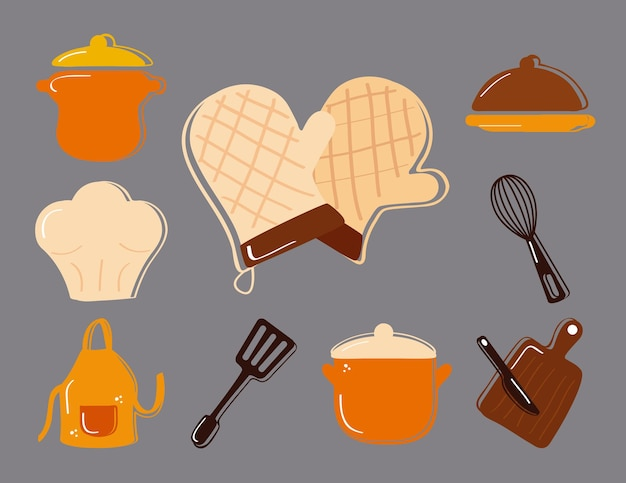Utensili da cucina bundle impostare icone