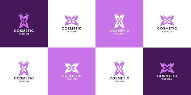 Bundle design del logo della farfalla di lusso per l'azienda cosmetica