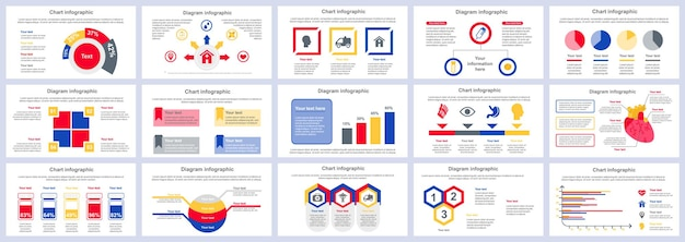 Bundle modello di diapositive di presentazione infografica servizi medici
