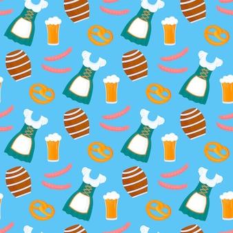 Fascio di uomini e donne con birra e dolcetti tradizionali tedeschi salatini e salsicce e fi