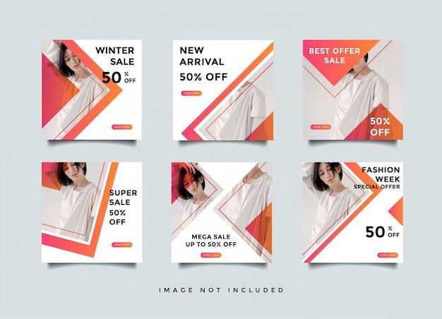 Modello di post social media minimalista in bundle