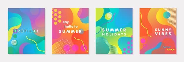 Pacchetto di poster estivi vettoriali moderni con sfondo sfumato luminoso, forme ed elementi geometrici. design astratto alla moda perfetto per stampe, social media, banner, inviti, design del marchio, copertine