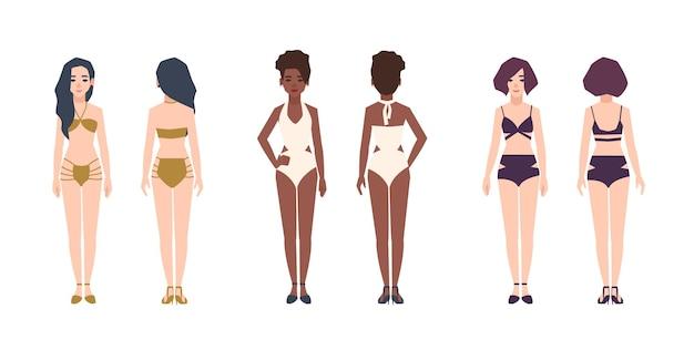Fascio di donne multirazziali che indossano costumi da bagno. set di belle ragazze vestite in bikini e costumi da bagno