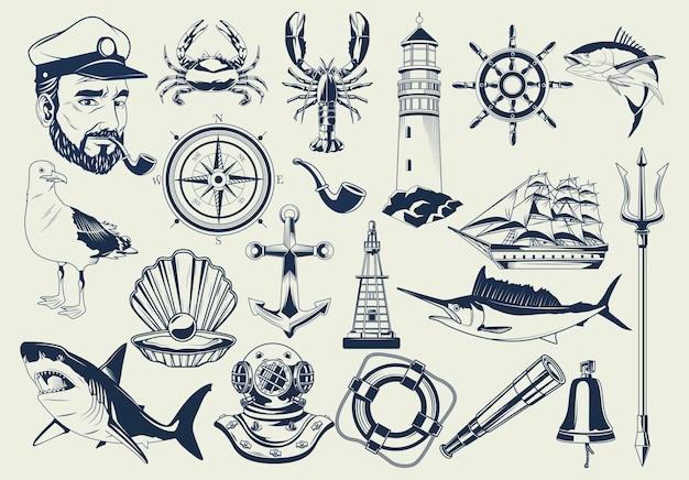Fascio di elementi nautici impostare icone modello illustrazione