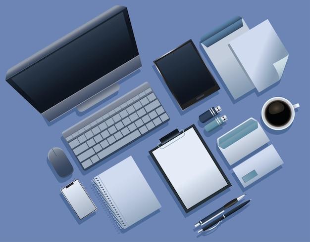 Pacchetto di nove elementi di branding icone illustrazione