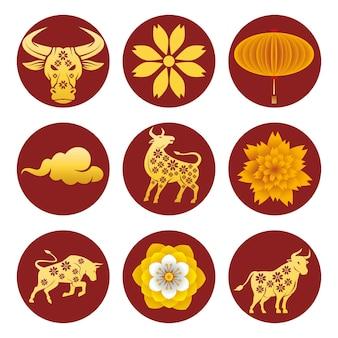 Un pacchetto di nove illustrazione stabilita dorata delle icone del nuovo anno cinese