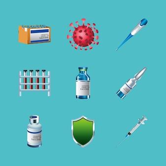 Pacchetto di nove virus covid19 vaccino set icone illustrazione