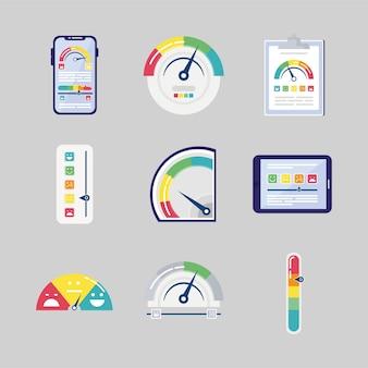 Un pacchetto di nove set di icone di soddisfazione del cliente illustrazione