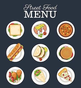 Pacchetto di nove deliziosi fast food e scritte