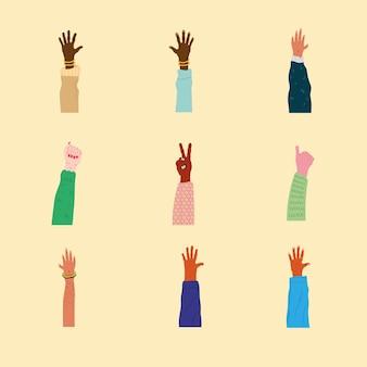Un fascio di nove diversità mani gli esseri umani in alto illustrazione