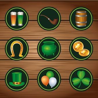 Un pacchetto di nove icone del giorno di san patrizio felice nell'illustrazione di legno del fondo