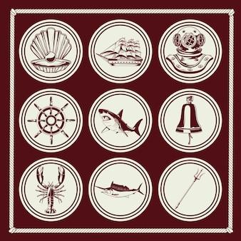 Pacchetto di nove elementi nautici impostare icone illustrazione
