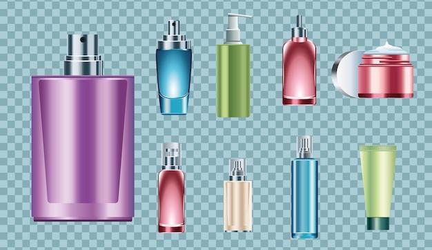 Pacchetto di nove bottiglie per la cura della pelle icone illustrazione