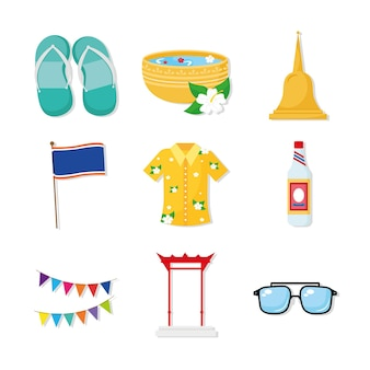 Un pacchetto di nove songkran festival set icone illustrazione