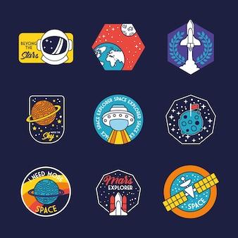 Pacchetto di nove badge spaziali nella linea di sfondo blu e illustrazione delle icone di stile di riempimento