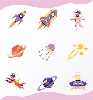 Set di nove illustrazioni spaziali