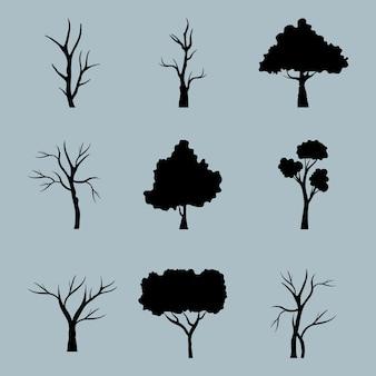 Pacchetto di nove alberi foresta silhouette icone di stile in sfondo blu.