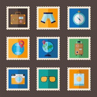 Pacchetto di nove vacanze impostare icone di francobolli