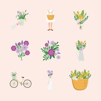 Pacchetto di nove womens giorno set icone illustrazione