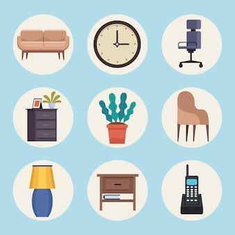 Fascio di mobili per ufficio insieme illustrazione