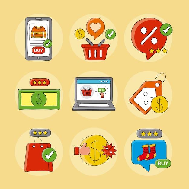 Pacchetto di tecnologia per lo shopping online imposta icone illustrazione