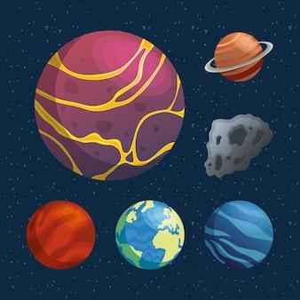 Pacchetto di pianeti e icone dello spazio degli asteroidi