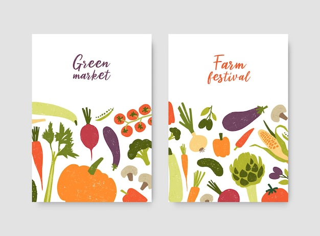 Pacchetto di modelli di poster o volantini con verdure fresche biologiche coltivate localmente e posto per il testo su sfondo bianco. illustrazione vettoriale per festa della fattoria, mercato verde, pubblicità del negozio di alimentari.