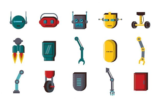 Bundle di tecnologia accessori robot imposta icone