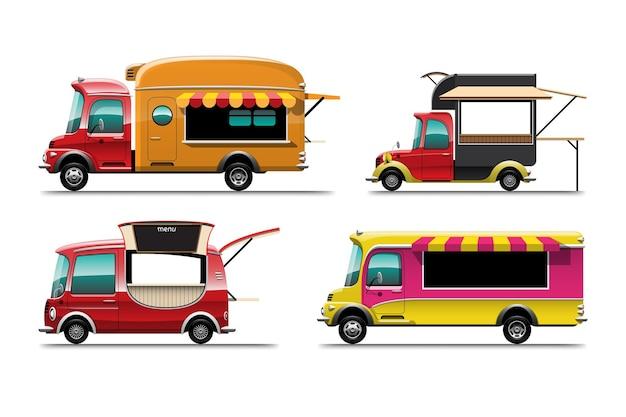 Set bundle di auto camion di cibo con una varietà di dimensioni su sfondo bianco