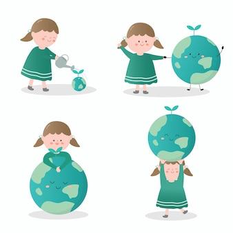 Set di elementi di design della natura ambientale della terra e della ragazza che attingono il personaggio dei cartoni animati