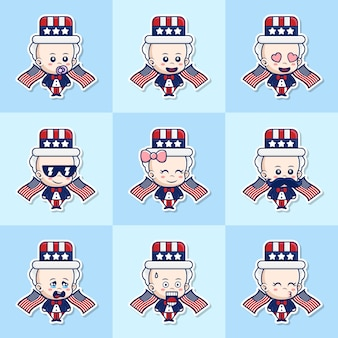 Bundle set illustration of cute baby uncle sam stickers con espressione diversa