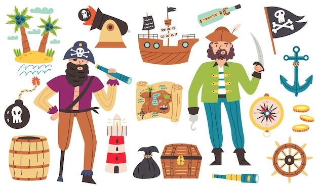 Bundle set personaggio pirata in stile cartone animato disegnato a mano. elementi di design sirena viaggio marino vivaio, pappagallo, faccia da pirata con un occhio, faccia da marinaio, pesce, polpo, gabbiano, granchio, stella marina