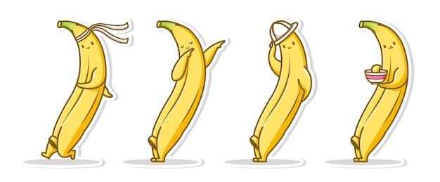 Bundle set pose cute of banana