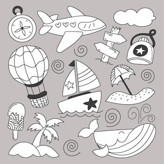 Bundle set di viaggio durante le vacanze estive con schizzo di disegno a mano di elementi del fumetto